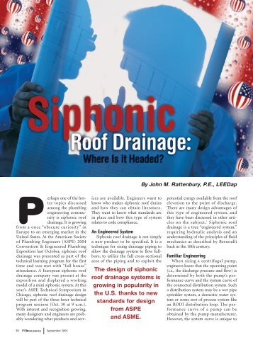 Siphonic Roof Drainage :: Where Is It Headed?   Jay R. Smith MFG