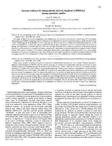 Isozyme evidence for independently derived, duplicate G3PDH loci ...