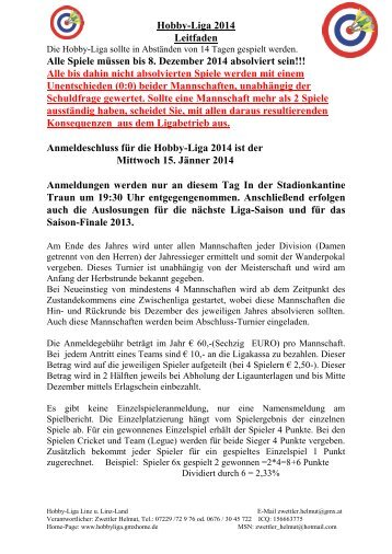 Hobbyliga Regeln 2013 - Hobby-Liga - GMX