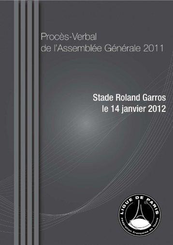 Proces-Verbal de l'Assemblée Générale 2011 - Ligue de Paris de ...