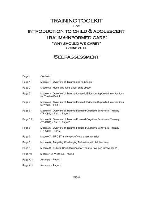 TRAINING TOOLKIT introduction to child & adolescent Trauma ...