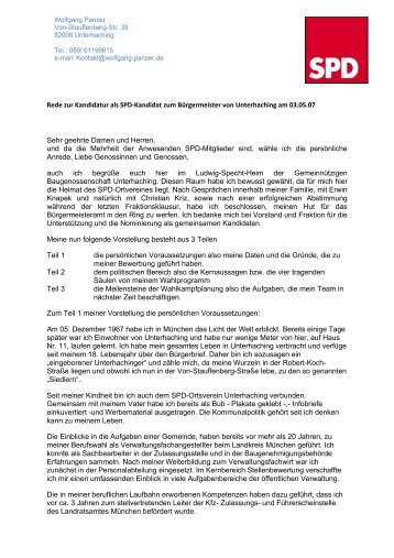 Rede zur Kandidatur als SPD-Kandidat zum ... - Wolfgang Panzer