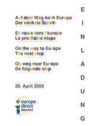 Auf dem Weg nach Europa - Der nächste Schritt - EU-Direct