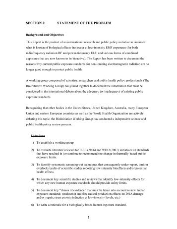 SECTION 2: STATEMENT OF THE PROBLEM 1
