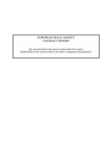 EUROPEAN SPACE AGENCY CONTRACT REPORT