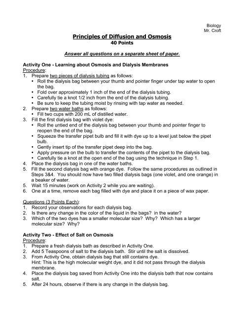 Principles Of Diffusion And Osmosis Mr Croft S
