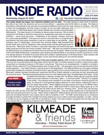 news INSIDE >> Wednesday, august 25, 2010