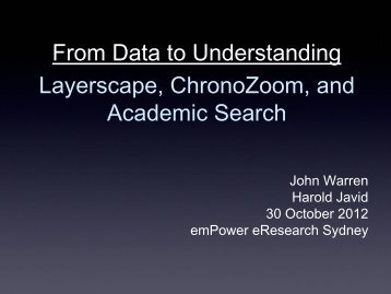 From Data to Understanding Layerscape, ChronoZoom, and ...