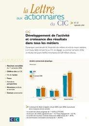 Télécharger la Lettre aux actionnaires n°17 - CIC