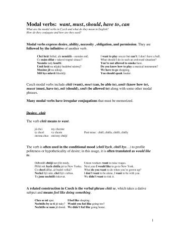 Modal verbs: want, must, should, have to, can - Cokdybysme.net