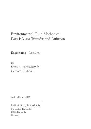 Environmental Fluid Mechanics Part I: Mass Transfer and ... - IfH