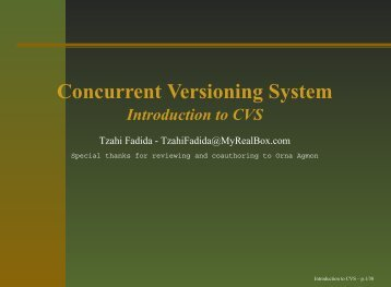 Concurrent Versioning System Introduction to CVS