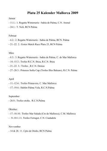 Platu 25 Kalender Mallorca 2009 - Platu25.de