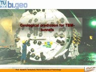 Geological prediction for TBM- tunnels