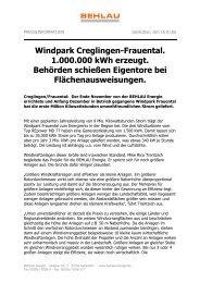 Windpark Creglingen-Frauental. 1.000.000 kWh erzeugt. Behörden ...