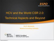 HCV and the World CSR 2.0: Technical Aspects and Beyond