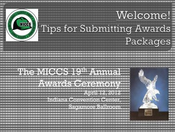 the 2012 Awards Submission Kick off Presentation - miccs
