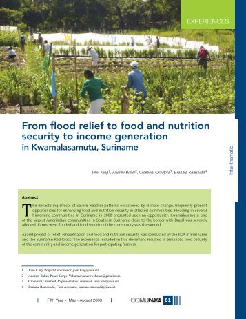 From flood relief to food and nutrition security to income generation