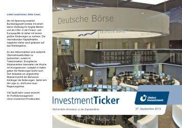 InvestmentTicker Märkte 39. Kalenderwoche - Union Investment