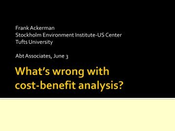 Frank Ackerman Stockholm Environment Institute-US Center Tufts ...