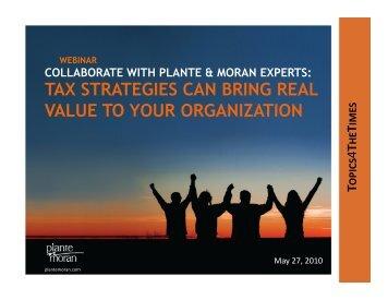 tax strategies - Plante Moran