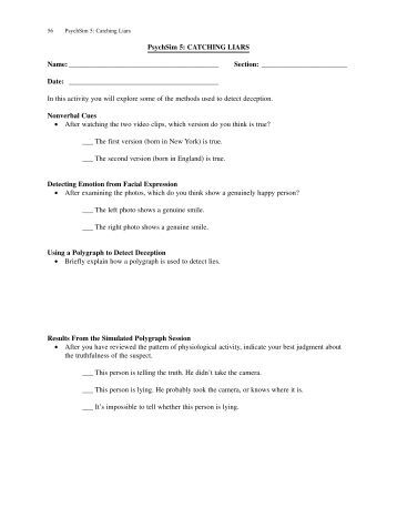 Printables Psychsim 5 Worksheet Answers psychsim 5 all stressed out name section date catching liars date