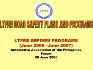 LTFRB Road Safety Plans and Programs