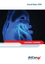 LEADING CHANGE Annual Report 2009 - AtCor Medical