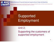Supporting the customers of supported employment