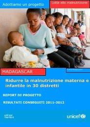 consulta il report di questo progetto - Unicef