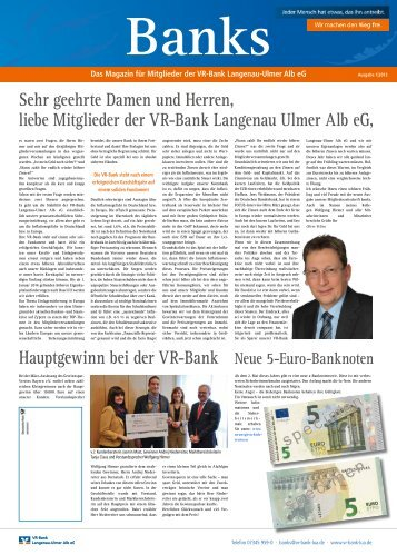 Ausgabe 1 / 2013 - VR-Bank Langenau-Ulmer Alb eG