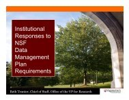 Institutional Responses to NSF Data Management Plan Requirements