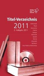Titel-Verzeichnis - Verlag Harri Deutsch