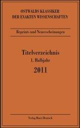 Ostwalds Klassiker - Verlag Harri Deutsch