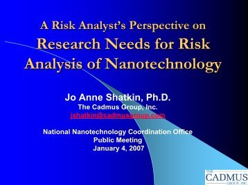 Dr. Jo Anne Shatkin, Cadmus Group, A Risk Analyst's Perspective ...