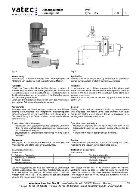 Priming Unit Type SKV 70301 3 - vatec Maschinenbau GmbH