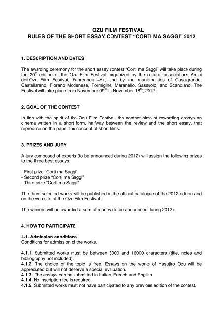 ozu film festival rules of the short essay contest corti ma saggi