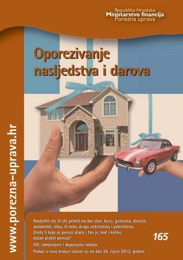Brošura: Oporezivanje nasljedstva i darova - Porezna uprava