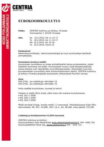 eurokoodikoulutus - Centria tutkimus ja kehitys