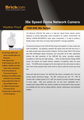 36x Speed Dome Network Camera - asmag