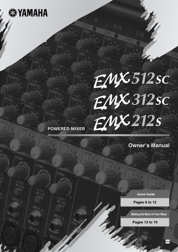 Owner's Manual - Yamaha Commercial Audio