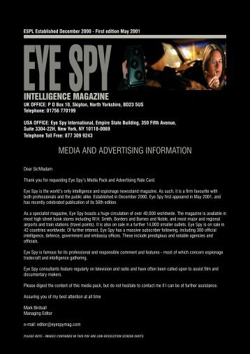 intelligence magazine media and advertising information - Eye Spy ...