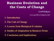 Business Evolution and the Costs of Change