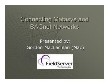 Connecting Metasys and BACnet Networks