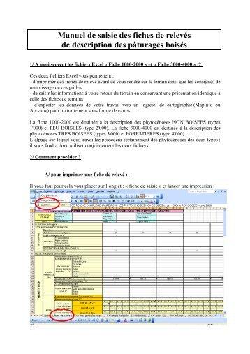 Manuel de saisie des fiches de relevés de ... - Arc Jurassien