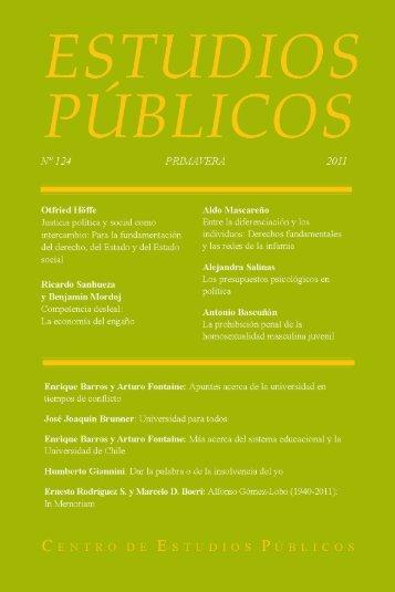 Estudios Públicos, 124. Revista de políticas públicas - Centro de ...
