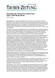 Internationaler Vorstand von Slow Food tagte in Bad ... - Otto Geisel