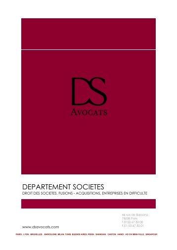 Département Sociétés - DS Avocats
