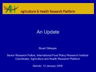 Agriculture and health Research Platform - IFPRI - International ...
