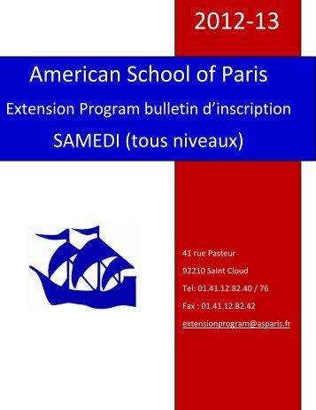Extension Program - American School of Paris